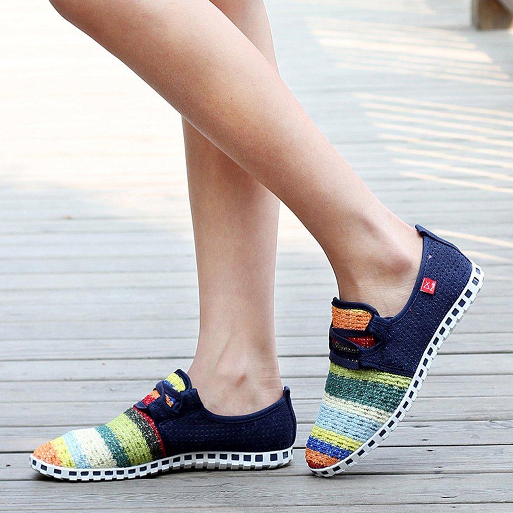 Breathable Mesh Sport Shoes Rainbow Color Rubber Outsole Anti-slip Women Shoes