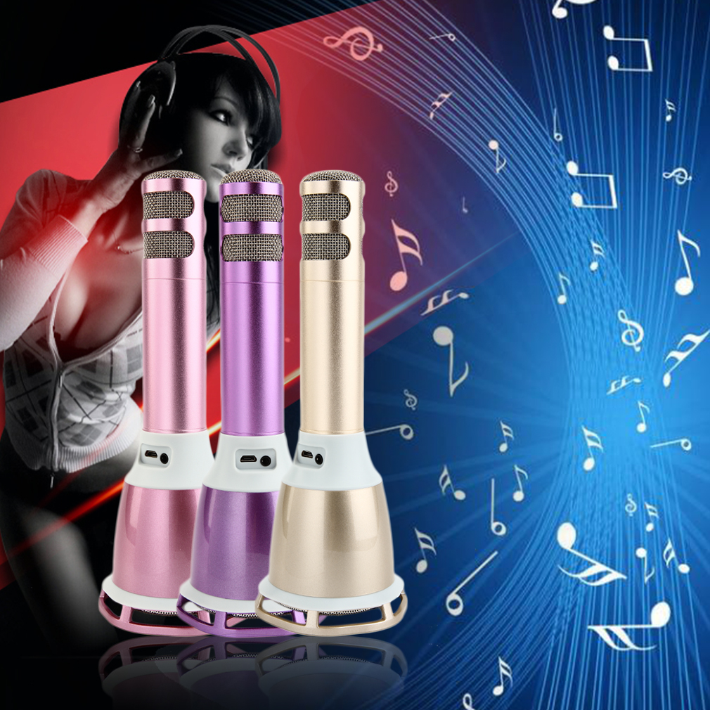 Wireless Bluetooth Microphone with Mic Speaker Condenser Mini Karaoke Player