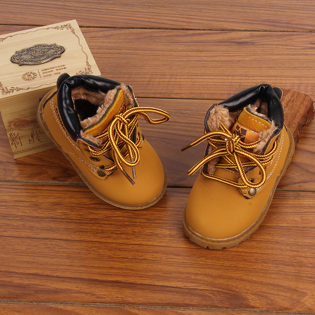 New Warm Kids Boys Girls Toddler Velvet Leather Martin Snow Boots Lined Shoes