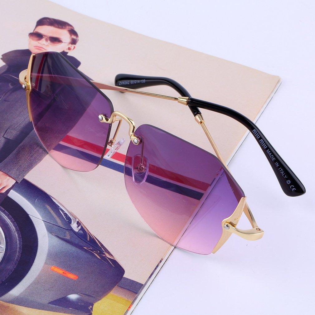 Classic Retro Women's Cool Fashion Vintage Designer Rimless Sunglasses