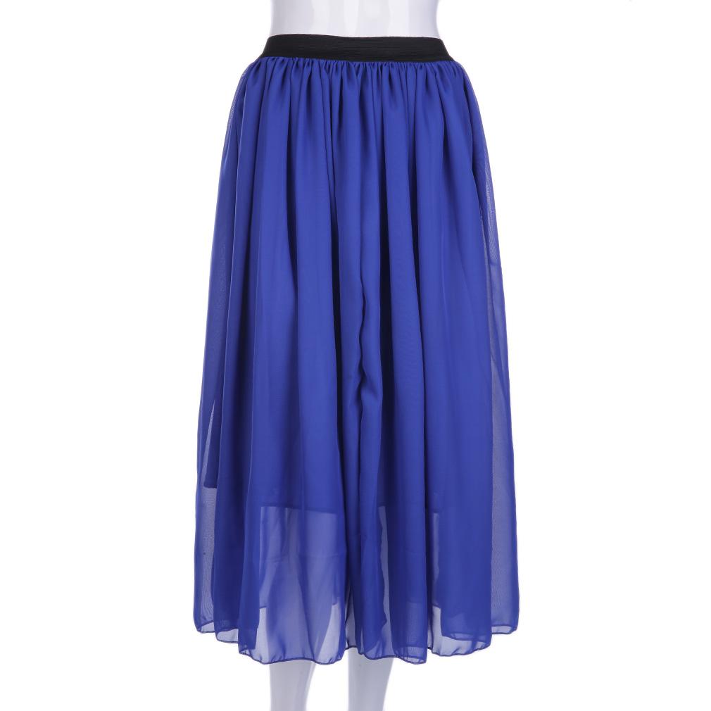 Hot Sexy Sexy Women Chiffon Skirt High Waist Long Skirt Stylish Blue/White