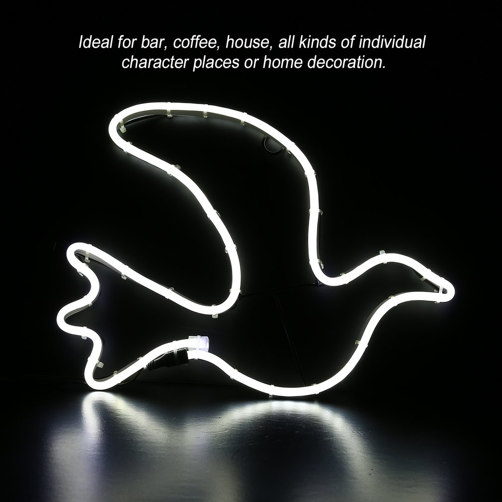 Neon Sign Light Pigeon Shaped Coffee Bar Room Wall Decoration Ornament Crafts