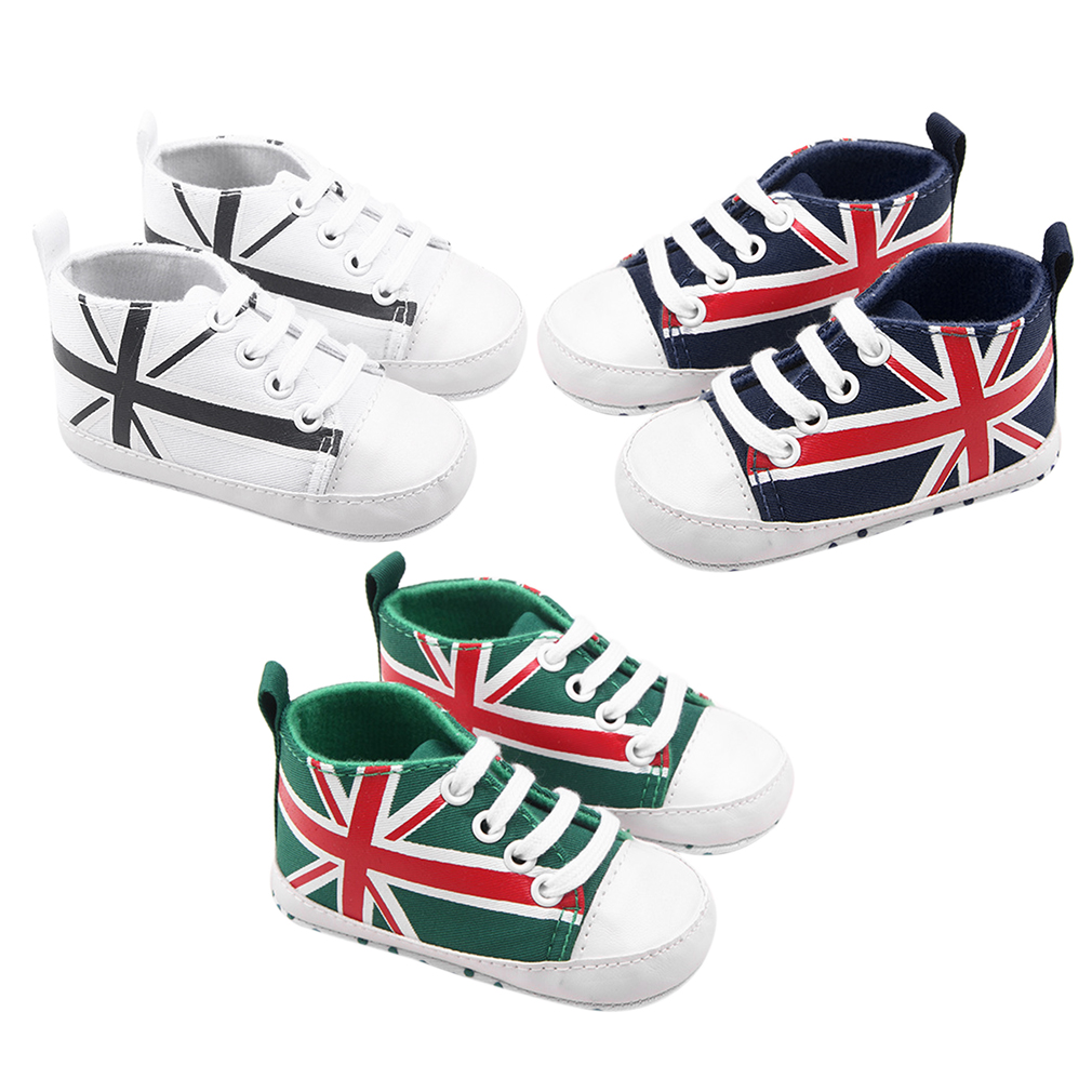 One Pair Baby Toddle New Shoes Flag Print Newborn Kids Soft Bottom Shoes