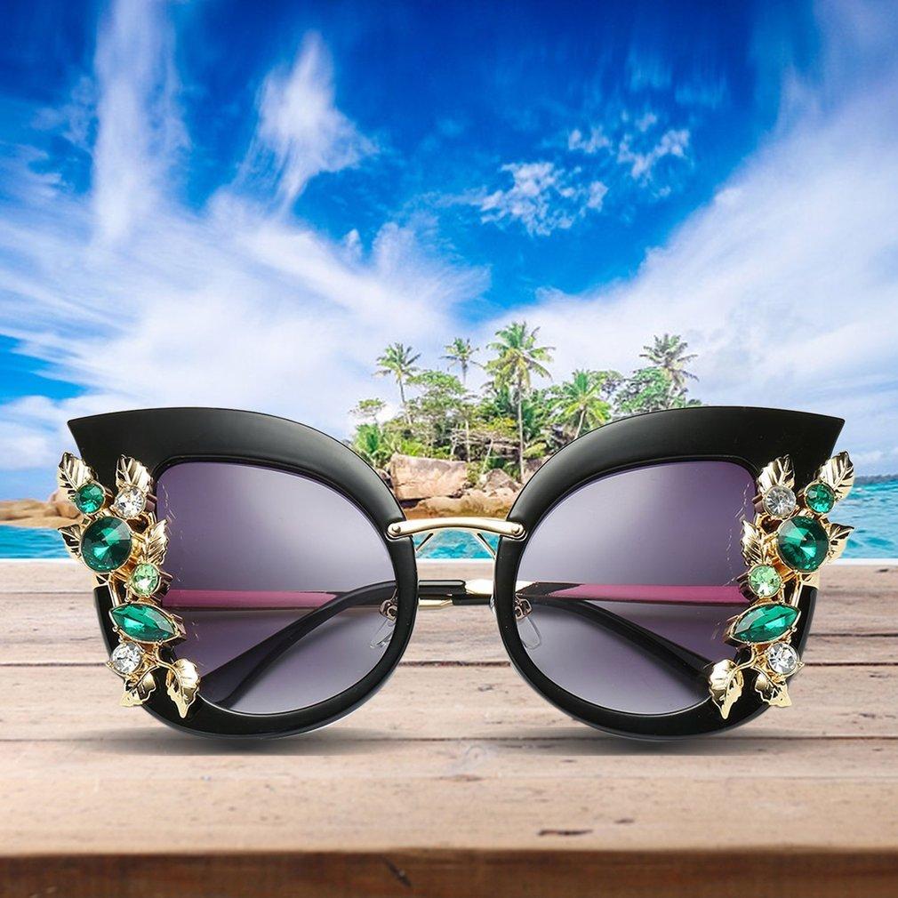 European American Fashion Women Cat's Eye Sunglasses Exaggerated Large Frame Ladies UV Protective Eyewear Glasses