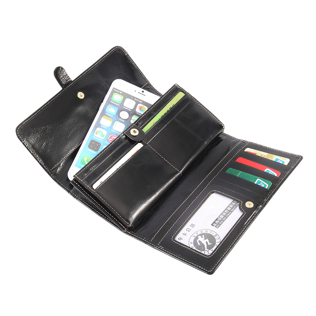 Women Leather Long Wallets Purse Card Holder Phone Large Capacity Purse