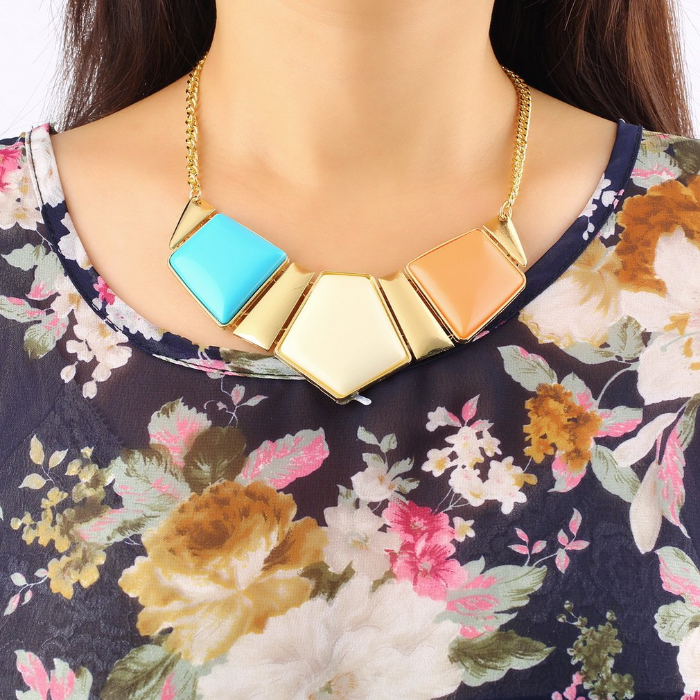 Hot Fashion European and American Luxury Party Wild Geometric Big Necklace