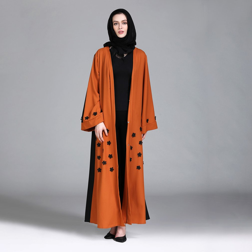 Loose Style Women Abaya Robe Stitching Color Design Musulmane Turkish Abaya Muslim Dress Cardigan Robes Prayer Clothing