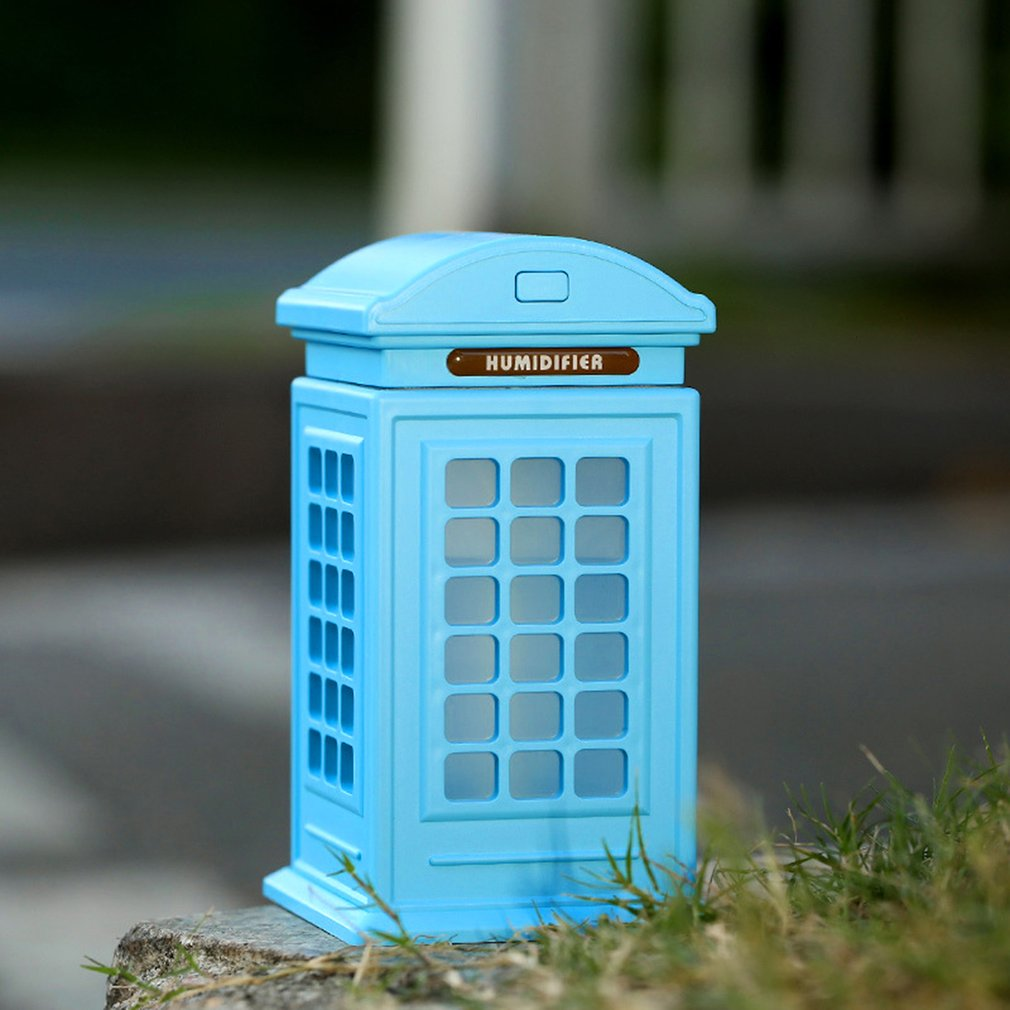 Mini Telephone Booth Air Humidifier Cleaner 300ml USB LED Diffuser Gift