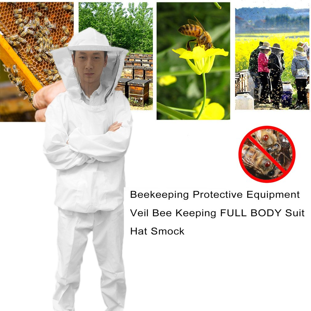 Beekeeping Protective Equipment Veil Bee Keeping FULL BODY Suit Hat Smock