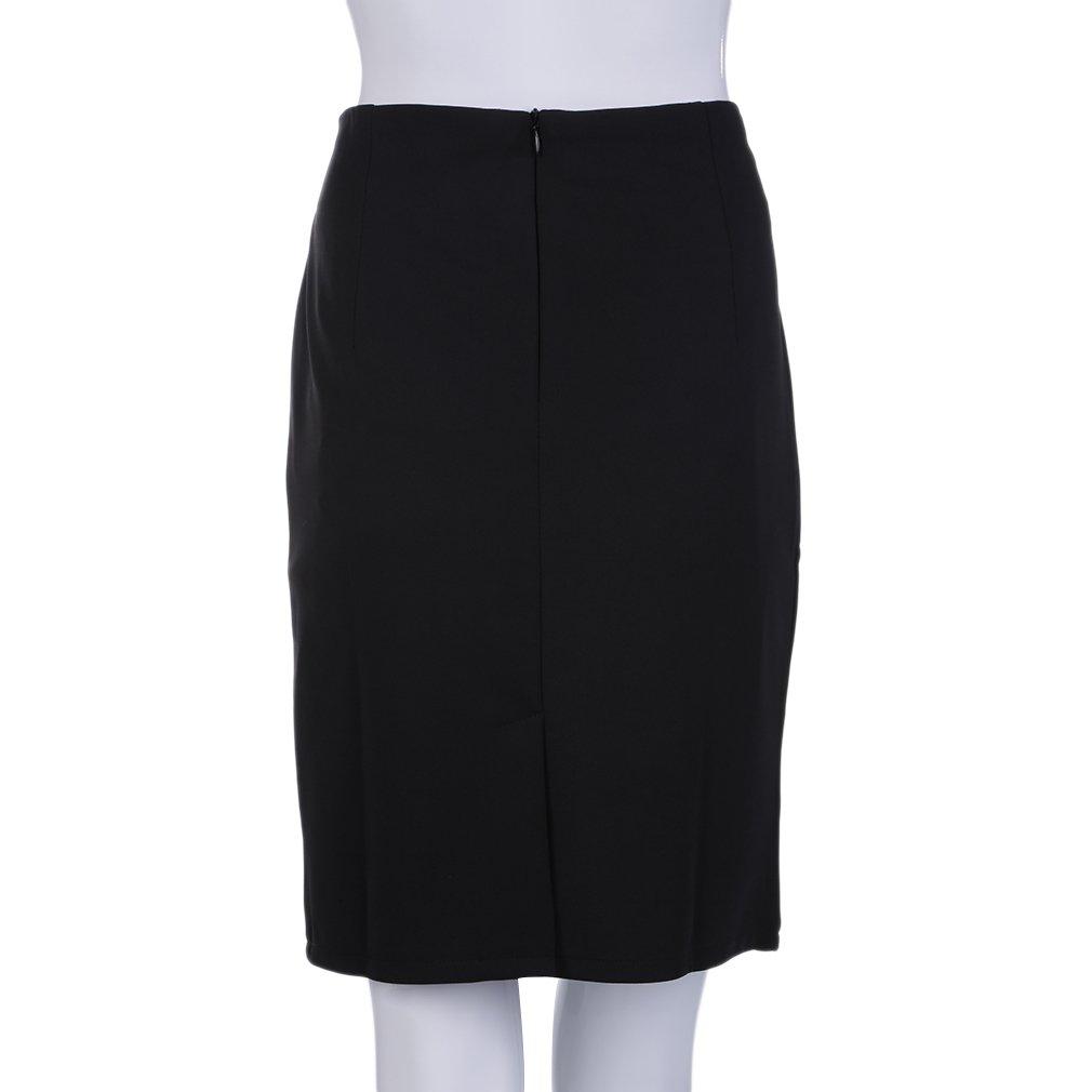 Women's Slim Retro Casual High Waist Office Lady Pencil Skirt Large Black